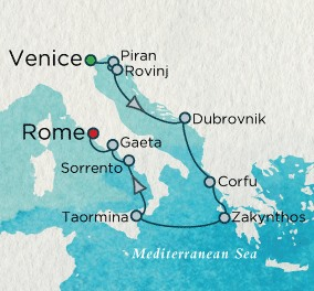 Crystal Luxury Cruises Serenity Map Detail Venice, Italy to Civitavecchia, Italy August 31 September 9 2025 - 10 Days