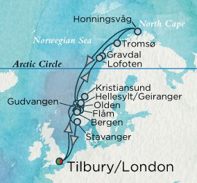 Crystal Luxury Cruises Serenity Map Detail Tilbury, United Kingdom to Tilbury, United Kingdom July 1-15 2018 - 14 Days