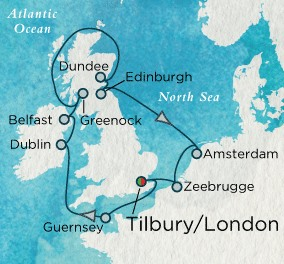 Crystal Luxury Cruises Crystal Cruises Serenity Map Detail Tilbury, United Kingdom to Tilbury, United Kingdom July 15-29 2018 - 14 Days