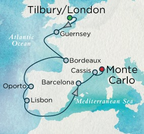 Crystal Luxury Cruises Crystal Cruises Serenity Map Detail Tilbury, United Kingdom to Monte Carlo, Monaco July 29 August 12 2018 - 14 Days