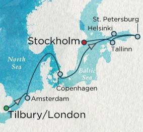 Crystal Luxury Cruises Serenity Map Detail Tilbury, United Kingdom to Stockholm, Sweden June 7-19 2025 - 12 Days