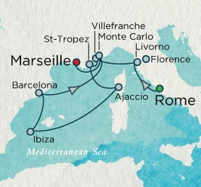 Crystal Luxury Cruises Crystal Cruises Serenity Map Detail Civitavecchia, Italy to Marseille, France May 16-28 2018 - 12 Days