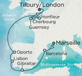 Crystal Luxury Cruises Serenity Map Detail Marseille, France to Tilbury, United Kingdom May 28 June 7 2018 - 10 Days