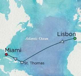Crystal Cruises Serenity Map Detail Lisbon, Portugal to Miami, FL, United States November 10-21 2018 - 11 Days