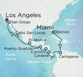 Crystal Luxury Cruises Serenity Map Detail Miami, FL, United States to Los Angeles, CA, United States November 21 December 7 2025 - 16 Days