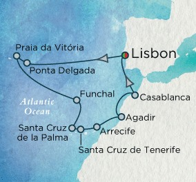 Crystal Cruises Serenity Map Detail Lisbon, Portugal to Lisbon, Portugal October 14-27 2018 - 13 Days
