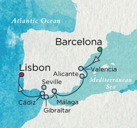 Crystal Luxury Cruises Serenity Map Detail Barcelona, Spain to Lisbon, Portugal October 7-14 2018 - 7 Days