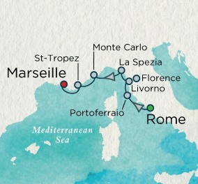 Crystal Luxury Cruises Serenity Map Detail Civitavecchia, Italy to Marseille, France September 23-30 2025 - 7 Days