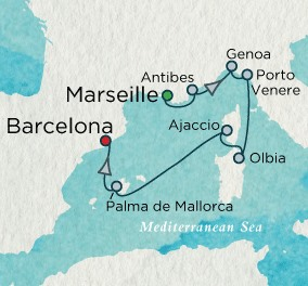 Crystal Luxury Cruises Crystal Cruises Serenity Map Detail Marseille, France to Barcelona, Spain September 30 October 7 2018 - 7 Days
