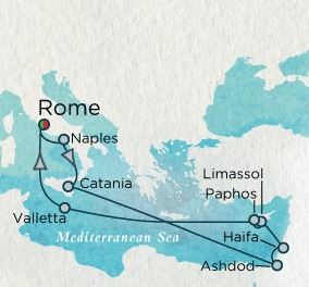 Crystal Luxury Cruises Serenity Map Detail Civitavecchia, Italy to Civitavecchia, Italy September 9-23 2025 - 14 Days