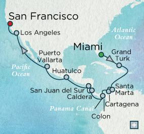 7 Seas Luxury Cruise - Crystal Luxury Cruise World Cruise Panama Canal Wayfarer Map