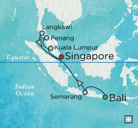 SINGLE Cruise - Balconies-Suites Crystal CRUISE World Cruise 2019 Malaysian Mystique Map