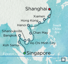 Singles Cruise - Balconies-Suites Crystal Cruises World Cruise 2019 Indochine Reflections Map