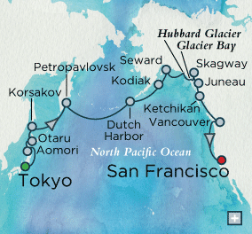 Singles Cruise - Balconies-Suites Crystal Cruises World Cruise 2019 Glacial Grandeur Map