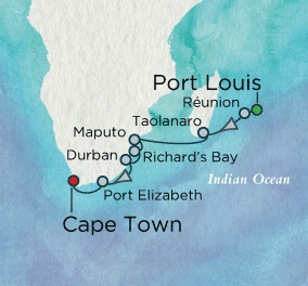 Crystal Cruises Symphony 2017 December 9-22 Mauritius (Port Louis) to Cape Town, South Africa