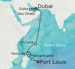 Crystal Cruises Symphony 2017 November 22 December 9 Dubai, United Arab Emirates to Mauritius (Port Louis)