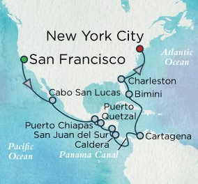 Crystal Luxury Cruises Crystal Cruises Symphony Map Detail San Francisco, CA, United States to New York, NY, United States August 10-30 2018 - 20 Days