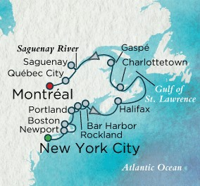 Crystal Cruises Symphony Map Detail New York, NY, United States to Montreal, Canada August 30 September 13 2018 - 14 Days