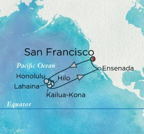 Crystal Cruises Symphony Map Detail San Francisco, CA, United States to San Francisco, CA, United States July 15-31 2018 - 16 Days