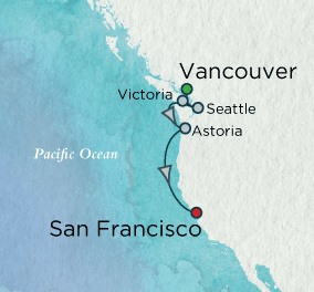Crystal Cruises Symphony Map Detail Vancouver, Canada to San Francisco, CA, United States July 8-15 2018 - 7 Days