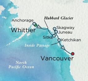 Crystal Luxury Cruises Crystal Cruises Symphony Map Detail Whittier, AK, United States to Vancouver, Canada June 10-17 2018 - 7 Days