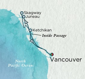 Crystal Cruises Symphony Map Detail Vancouver, Canada to Vancouver, Canada June 17-24 2018 - 7 Days