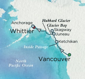 Crystal Cruises Symphony Map Detail Vancouver, Canada to Whittier, AK, United States June 3-10 2018 - 7 Days
