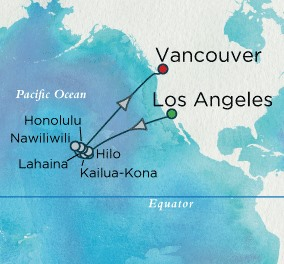 Crystal Cruises Symphony Map Detail Los Angeles, CA, United States to Vancouver, Canada May 18 June 3 2018 - 16 Days