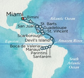 Crystal Luxury Cruises Symphony Map Detail Miami, FL, United States to Miami, FL, United States November 8 December 2 2018 - 24 Days