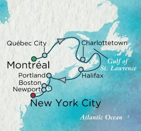 Crystal Cruises Symphony Map Detail Montreal, Canada to New York, NY, United States October 15-25 2018 - 10 Days