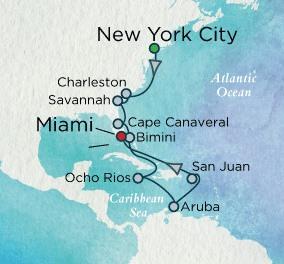 Crystal Luxury Cruises Crystal Cruises Symphony Map Detail New York, NY, United States to Miami, FL, United States October 25 November 8 2018 - 14 Days