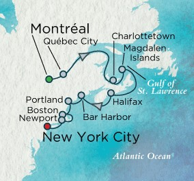 Crystal Cruises Symphony Map Detail Montreal, Canada to New York, NY, United States September 13-25 2018 - 12 Days