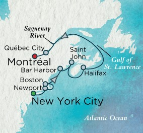 Crystal Cruises Symphony Map Detail New York, NY, United States to Montreal, Canada September 25 October 5 2018 - 10 Days