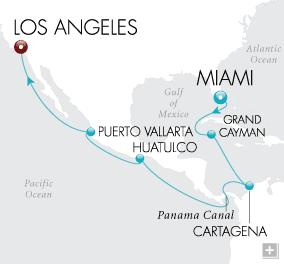 CRUISES - Balconies/Suites Panama Canal Passage Map