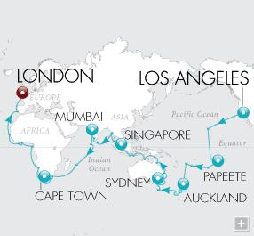 Single Balconies/Suites 2021 World Cruise Map