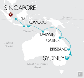 Luxury Cruises - Bali & The Barrier Reef Map