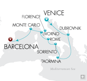 Luxury Cruises - Mediterranean Treasures Map