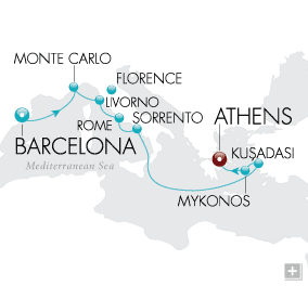 LuxuryCruises - Gaudi & The Gods Map