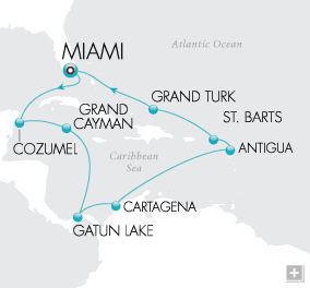 Luxury Cruises - Grand Caribbean Holiday Map
