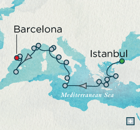 Istanbul to Barcelona Explorer Combination Map Istanbul, Turkey to Barcelona, Spain - 21 Days