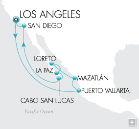 7 Seas Luxury Cruises Treasures of Mexico Map