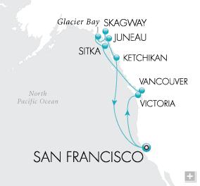 CRUISES - Balconies/Suites Golden Gate to Glaciers Map