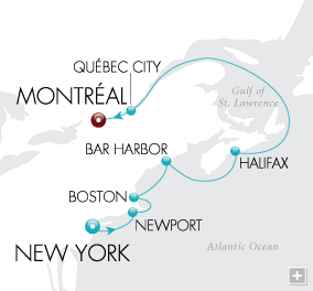 7 Seas Luxury Cruises Lighthouses & Lobsters Map
