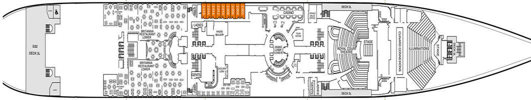 Deck 2 Image Deck Key Image Cunard Queen Mary 2 Deck Plan