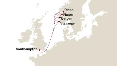 CUNARD Queen Mary 2 Cunard Cruises Queen Mary 2 Map Detail 2027 Southampton, United Kingdom to Southampton, United Kingdom - Voyage M726 - 8 Days