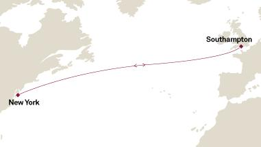 Cunard Luxury Cruises World Cruise - Cunard Cruises Queen Mary 2 Map Detail 2017 Southampton, United Kingdom to New York, NY, United States - Voyage M743 - 7 Days