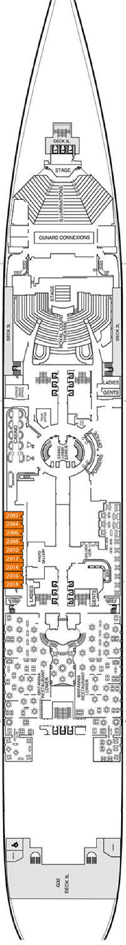 Deck PLAN Cunard World Cruise Queen Mary 2 Qm2 Image
