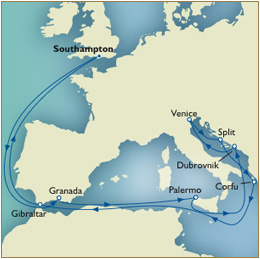 Cruises Around the World Luxury Cunard Cruises - Cunard Cruises Line Victoria QV Cruises Queen Victoria Map