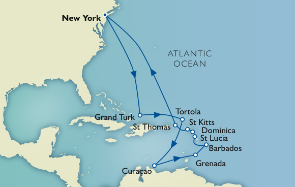 7 Seas Cruises Luxury Voyage Map - New York