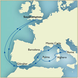 7 Seas Cruises Luxury Map - Southampton to Southampton